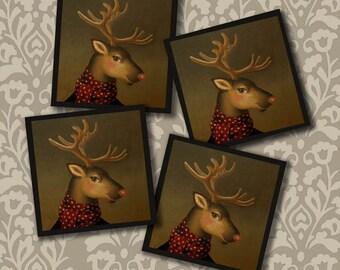 Reindeer Coasters, Christmas Coasters, Reindeer Coaster Set, Retro Reindeer, Vintage Reindeer, Retro Christmas, Teacher's Gift, Secret Santa