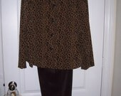 Womans Pant Suit, Animal Print Jacket, Brown Pants, Faux Suede, by Nanas Vintage Shop on Etsy