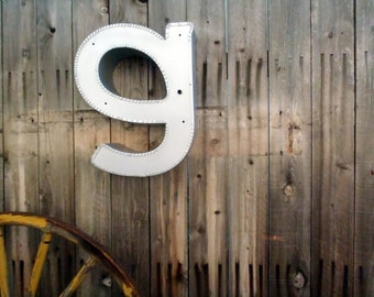 Vintage Marquee Sign Letter Lowercase 'G': Large Silver Metal Wall Hanging Initial -- Neon Channel Industrial Advertising Salvage