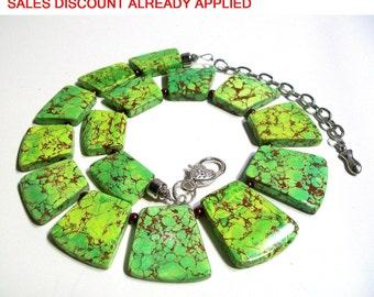 Green Sea Sediment, Green Howlite Necklace Choker, Collar, Statement Necklace, 2 Piece Set