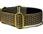 Black and Gold Lattice Jacquard Martingale Collar - 1.5 Inch