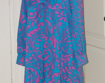 60s Mod Dress, Mini, Psychedelic, Print, Blue, Pink, Front Bow, A Line, Size S/M