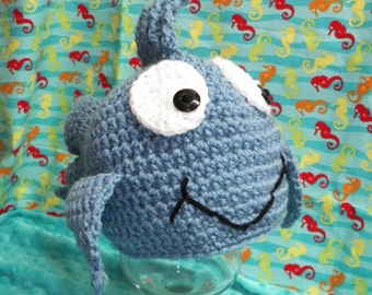 Crocheted Country Blue Fish Hat Photo Prop Newborn to Adult Custom Colors