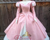 Ariel Little Mermaid Inspired Romantic Pink Dinner Dress Off the Shoulder Piped Adult Gown