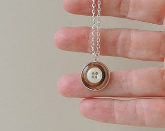 Little Button Necklace, Upcycled Brown Cream Buttons Pendant, Recycled, Repurposed,Button Jewelry, UK (1370)