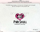skull logo, custom logo,Premade Logo Design, Sweet Skull logo, love heart skull logo, boutique photography logo by princessmi 1146-8