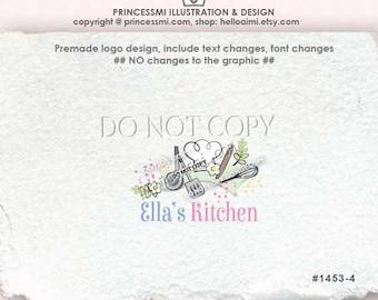 1453-1 Chef logo, Bakery logo, home kitchen logo, hand drawn chef hat, custom logo, premade logo design