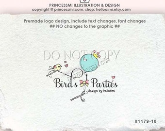 1179-10 bird logo, balloon logo crown bow photography business logo, party logo, event planner logo