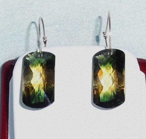 "32 cts Natural Cushion cut Bolivia Bi-Color Ametrine, 14kt yellow gold 3/4"" Hoop Pierced Earrings"