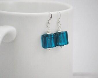 Teal Earrings, Teal Drop Earrings, Glass Tile Earrings, Teal Blue Drop Earrings, Blue Lagoon, Blue Green Earrings, Lampwork Earrings