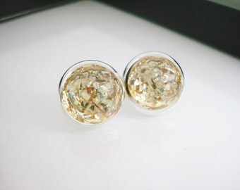 Gold Glitter Earrings, Gold Stud Earrings, Gold Flake Earrings, Silver and Gold, Nail Polish Jewelry, Glass Stud Earrings, Silver Earrings
