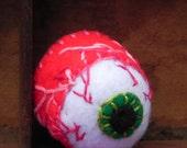 Creepy Cute Eyeball Pincushion - Macabre, Strange green iris, hot pink felt and hand stitched red veins