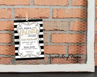 30th Birthday - Woman's Birthday Invitation - Black and White Stripe - Glitter Gold - Fashionable - Chic - Customize - Printable - 5x7