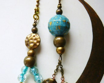 Blue Bronze Ceiling Fan/ Light Pull Chain, handmade by gviolet, The Metal Collection