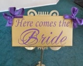 Here Comes the Bride...Just Married...they lived happily ever after...two sided sign