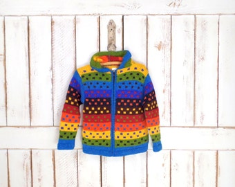 Vintage children/kids rainbow colored wool/cotton hoodie knit sweater/chunky wool cardigan/striped colorful woven sweater