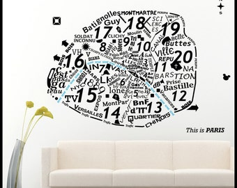 On Sale PARIS WALL DECAL : Map in Words, texts, neighborhoods, districts names icons vinyl sticker, carta, plan decal, home decor, wall art