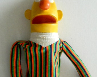 Vintage 1970 Bert Burt Sesame Street Hand Puppet Jim Hensen AS IS rubber cloth