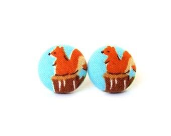 SALE Squirrel stud earrings - kids button earrings - children fabric earrings blue orange brown animal kawaii