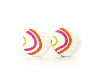 SALE Gift for her - button earrings - bright fabric earrings - white yellow orange pink earrings - cute happy earrings