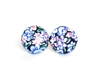 Tiny vintage style stud earrings - small blue button earrings - floral flower rose pink purple