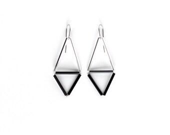 Silver black triangle earrings- Geometric earrings- Minimalist jewelry