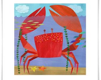 Crawling Crab Art Print // Ocean Illustration