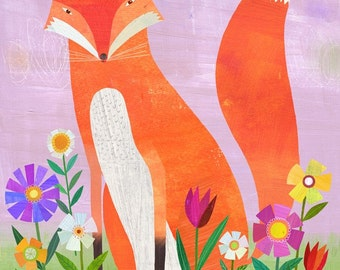 Fox in Flowers Canvas Art Print // Ready to Hang
