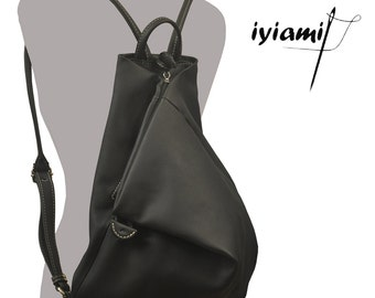 Kalliope Junior ,Handmade Leather Backpack in Black color MADE TO ORDER