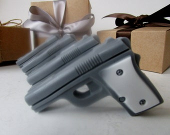 4 GUN SOAP - gift for him, stocking stuffer for man, gift for him, gray and white mini pistol, gift for boyfriend