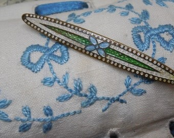Edwardian Blue & Green Enamel Bar Pin Brooch