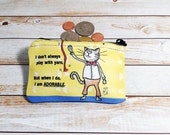 Adorable Cat Coin Purse Change Pouch Wallet Play With Yarn Cat funny humor yellow bow tie