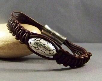 Leather Bracelet, Boho Leather Bracelet, Sterling Silver Bracelet, Brown Bracelet, Womens Bracelet, Charm Bracelet, Gifts, Woven Bracelet
