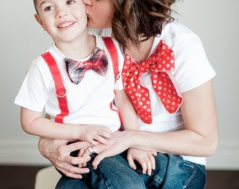 Mother's Day Family Set.  Boy's Bow Tie and Suspenders Tee, Men's Tie T-Shirt, Women's Bow Tee. Mommy & Me, Dad Son  Outfit. Father's Day