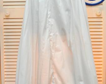 Vintage Womens Skirt Extender/Long Slip Crinoline Petticoat/Adjustable Handmade/Lace Trim Prairie Victorian Country Theater Costume Cotton