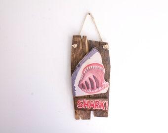 Shark Beach Sign on Reclaimed Wood Shabby Chic Surf Shop Lake House Decor Coastal Beach Surf Baby Nursery Beach Themed Kids Room