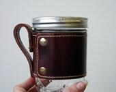 Leather Jar Wrap- leather mug wrap