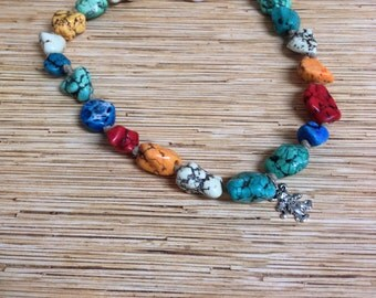 Multi-Colored Stone Knotted Hemp Dancing Bear Necklace