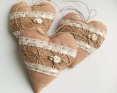 Hanging Hearts - Set of Three Brown Hearts - Home Decor - Stuffed Fabric