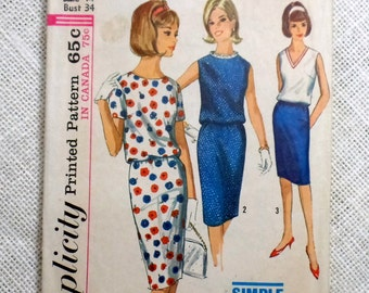 Simplicity 5831 1960s Slim skirt Two piece dress Blouson waist Bust 34 vintage sewing pattern