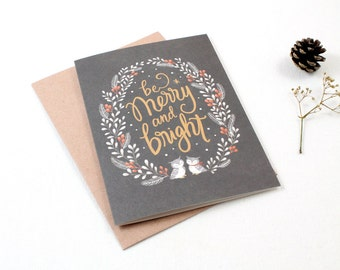 Christmas Cards - Be Merry and Bright - 10 Greeting Cards