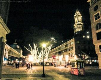 FANEUIL HALL BOSTON at Christmas, City, Art, Boston, Print, Massachusetts, Photo, Travel, Building, Architecture