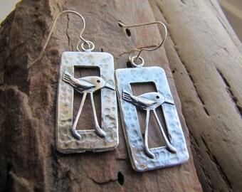 sterling silver bird earrings. SHOREBIRD. beach earrings. sea bird earrings. bird jewelry. bird lover earrings. sandpiper earrings. seashore
