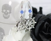 Beaded Ship Helm Dangle Earrings-SALE