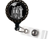 Haunted House Black Retractable ID Tag Badge Reel