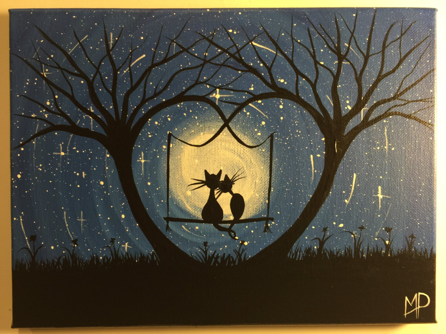 Original whimsical cat painting what can i see 12 x 9 for Cat paintings on canvas