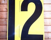 Vintage Metal Yellow Gas Station Number Sign