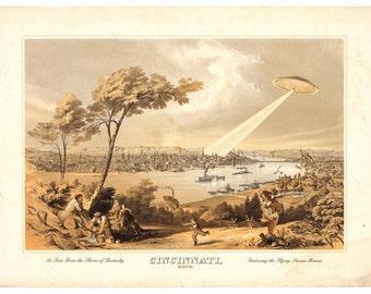 Cincinnati Art, UFO Art, Cincinnati Ohio, Geekery, Digital Print, Flying Saucer, Alternate Histories, Cincinnati Skyline, Wall Art