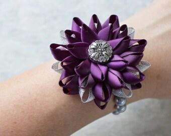 Wrist Corsage, Flower Wrist Corsage, Eggplant Wedding Jewelry, Deep Purple Wedding Flowers, Aubergine, Silver, Bridesmaid Flower Corsage