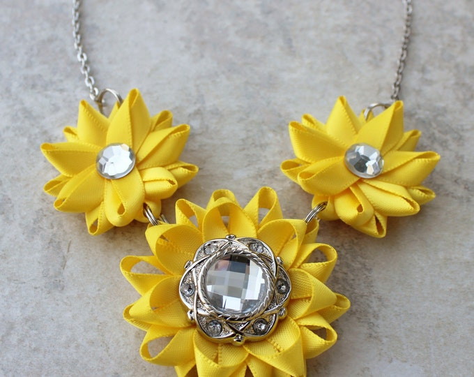 Yellow Necklace, Flower Jewelry, Yellow Statement Necklace, Bright Yellow Jewelry, Yellow Bridesmaid Jewelry, Unique Yellow Wedding Jewelry